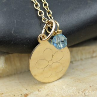 14kt Gold-filled Engraved Flower Necklace with Swarovski Crystal Accent