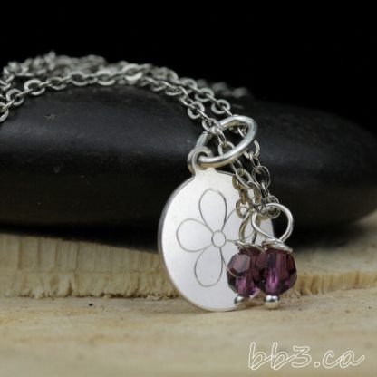 Engraved Flower Necklace Sterling Silver with Swarovski Crystal Accent