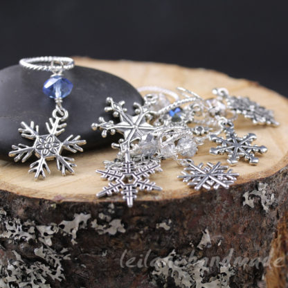 silver snowflake charm stitch markers