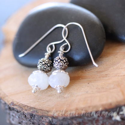 milky white faceted moonstone with pewter accent earrings