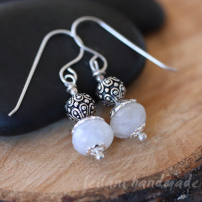 moonstone and pewter sterling silver earrings
