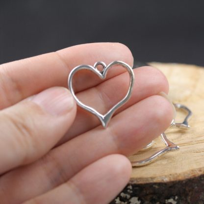 open heart metal charms