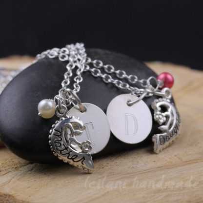 mother daughter matching sterling silver necklace