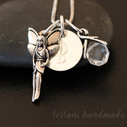 sterling silver fairy necklace with quartz briolette and engraved initial