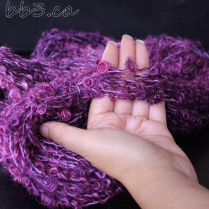 Handspun Yarn - Bouclé purple - mohair and cotton