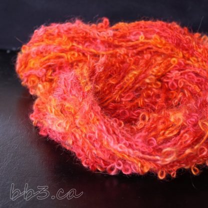Handspun Yarn - Bouclé orange - mohair and cotton