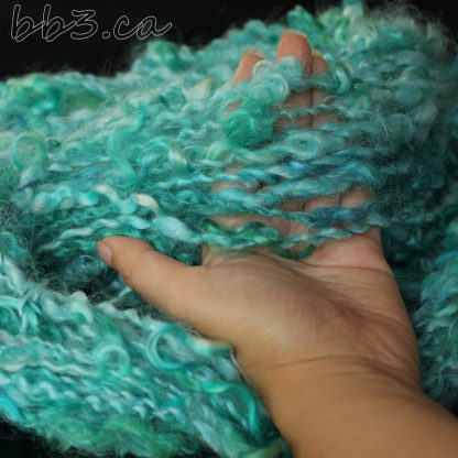 Handspun Yarn - art yarn - mohair aqua locks plied with silk