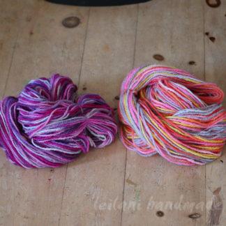 handspun yarn set canadian wool roving grape lollipop and shirley temple