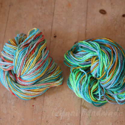 two skein bundle Canadian wool roving Jolly Rancher and Glio Fish