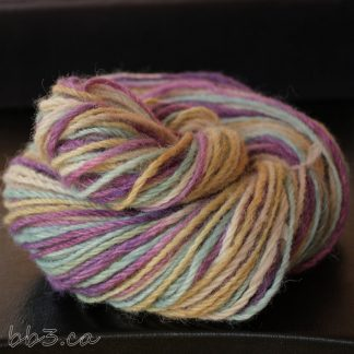 Handspun Yarn - 3-ply Alpaca - Sandy Shores Purple Skies