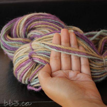 Handspun Yarn - 3-ply Alpaca - Sandy Shores Purple Skies