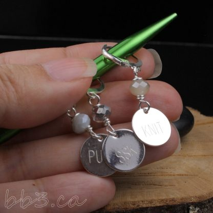 Stitch Markers: Set of 8 engraved knitting abbreviations