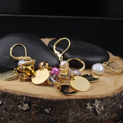 Stitch Markers: Set of 8 Gold Engraved knitting abbreviations