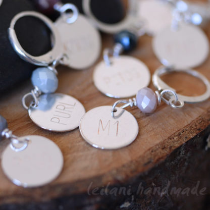 engraved knitting stitch markers silver