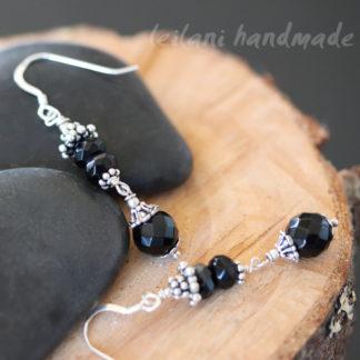 faceted black onyx sterling silver dangle earrings