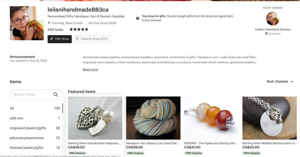 leilani handmade's etsy shop