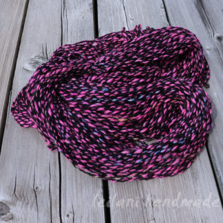 black and pink handspun bubble crepe yarn