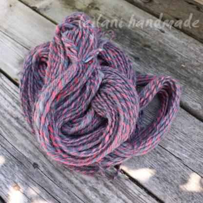 grey and pink handspun alpaca yarn