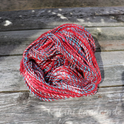 3 ply handspun red stripe yarn