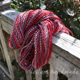 handspun 3 ply yarn red striped