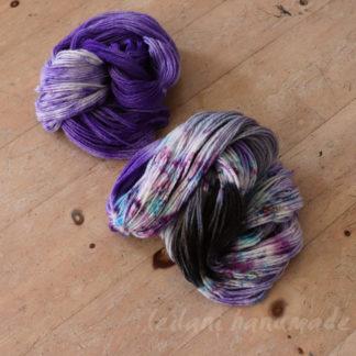 2 skein set of handspun hand dyed yarn lilac