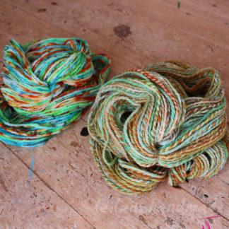 2 skein handspun yarn vibrant and soft