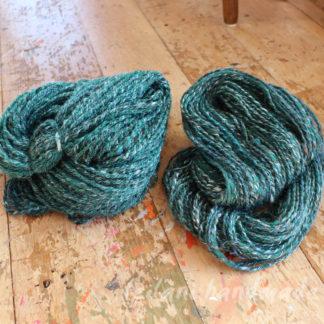 2 skeins green merino yarn handspun