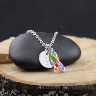 colorful puzzle piece awareness ribbon charm necklace
