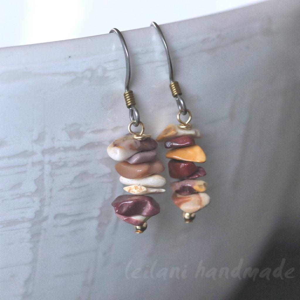 Mookaite stone chip earrings