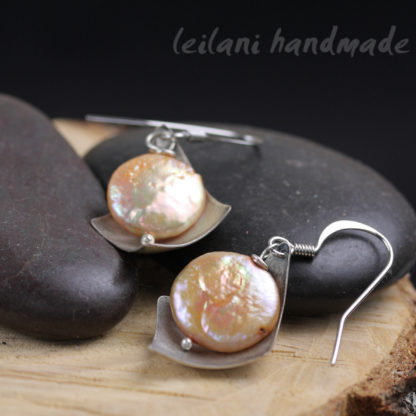 peach coin freshwater pearl earrings