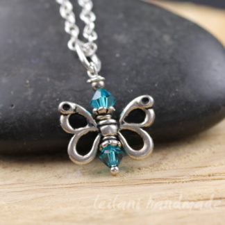 swarovski crystal butterfly charm with pewter wings
