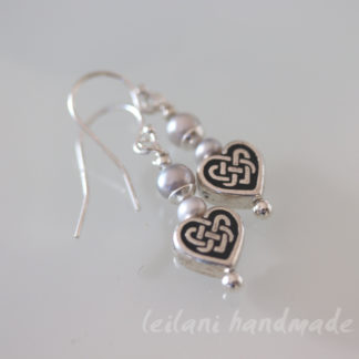 close up of celtic heart sterling silver earrings