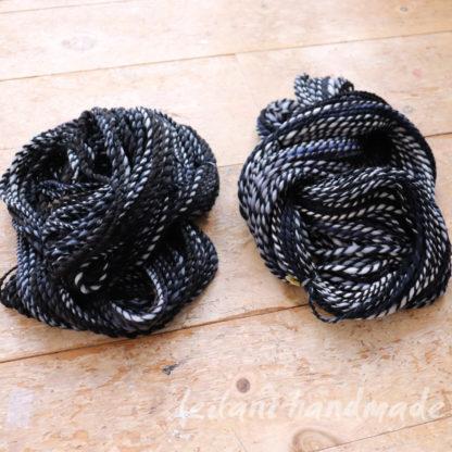 2ply bulky handspun black gradient merino yarn