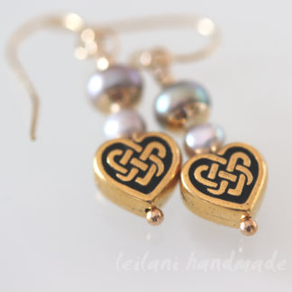 gold celtic heart earings