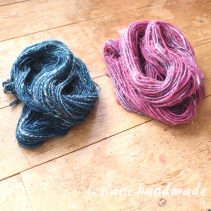 set of two handspun corespun art yarn