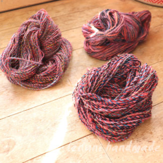 3 skein handspun pinks grey and pale blues