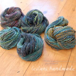 5 skein handspun yarn bundle