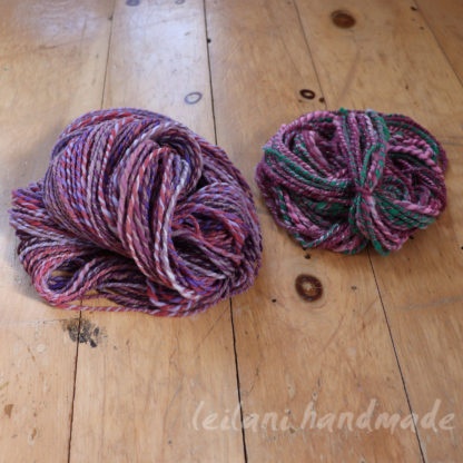 handspun purple merino yarn with free cormo mini skein