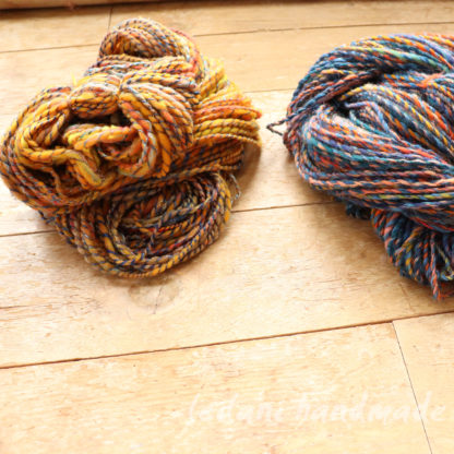 handspyn yarn destash orange and blue