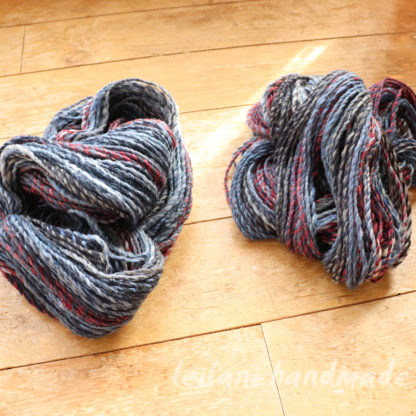 2 skein handspun yarn bundle grey blue cranberry