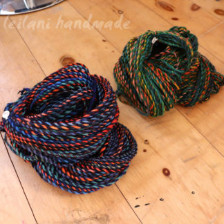 two skein handspun bundle tropical themed blues greens rainbow