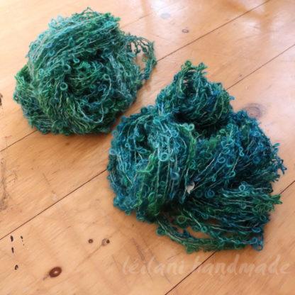 handspun art yarn loopy boucle hues of green 2 skein bundle