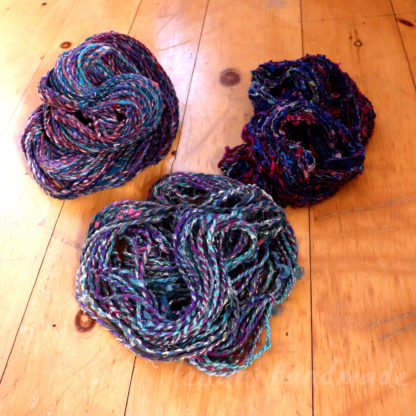 experiment art yarn sets deel blues greens purples